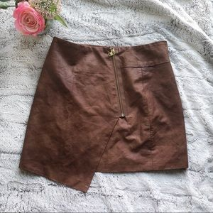 3/$25 NWT H&M Faux Leather Brown Mini Skirt Sz 12